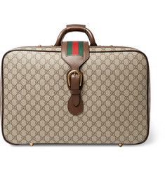 Gucci Neo Vintage Leather-Trimmed Monogrammed Coated-Canvas Briefcase
