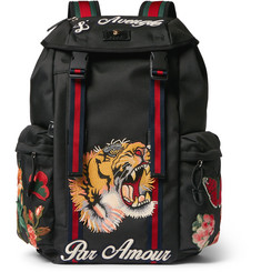 Gucci Patch-Embellished Canvas Backpack