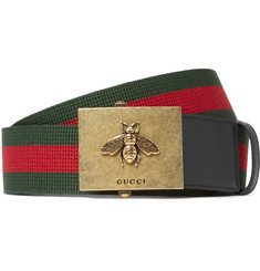Gucci 4cm Leather-Trimmed Striped Canvas Belt