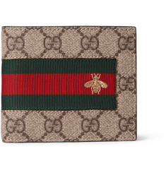 Gucci Stripe-Trimmed Monogrammed Coated Canvas Billfold Wallet