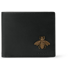 Gucci Embroidered Grained-Leather Billfold Wallet