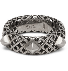 Gucci Diamantissima Palladium-Plated Silver Ring