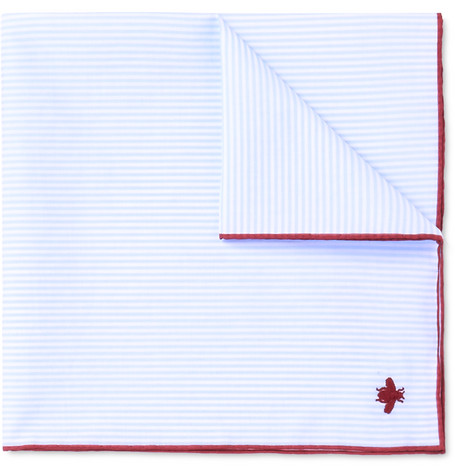 gucci male gucci embroidered striped cotton pocket square blue
