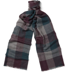 Loro Piana Stanford Fringed Checked Cashmere Scarf