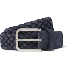 Loro Piana 3.5cm Navy Braided Suede Belt