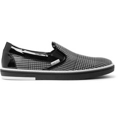 Jimmy Choo Grove Checked Leather Slip-On Sneakers
