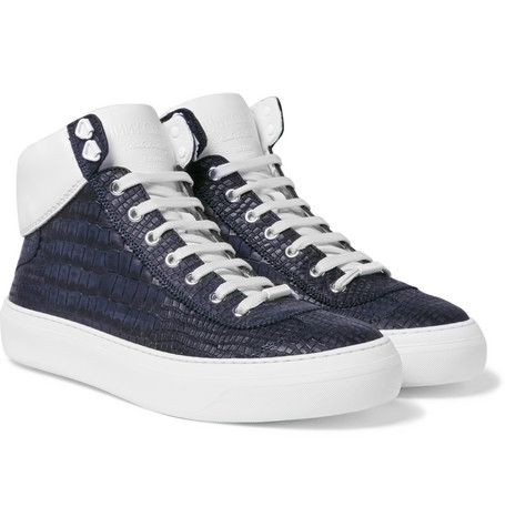 0ab3b6a58f8 Jimmy Choo Argyle Croc-Effect Leather High-Top Sneakers In Blue ...