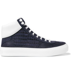Jimmy Choo - Argyle Croc-Effect Leather High-Top Sneakers
