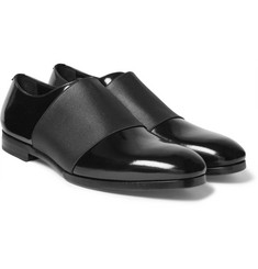 Jimmy Choo - Peter Elastic-Trimmed Polished-Leather Oxford Shoes