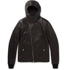 Rick Owens Slim-Fit Hooded Grained-Leather Jacket
