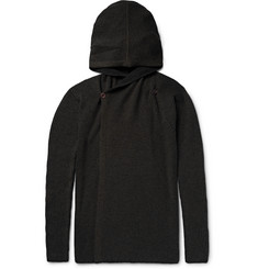 Rick Owens Ribbed Cashmere-Blend Hooded Cardigan