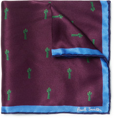 Paul Smith + Gufrum Cactus-Print Silk Pocket Square
