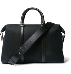 Paul Smith Leather-Trimmed Cotton-Blend Twill Briefcase