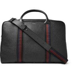 Paul Smith City Webbing Stripe-Trimmed Pebble-Grain Leather Holdall
