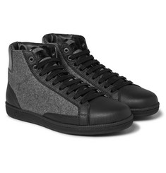 Brioni - Gymnasium Leather and Felt High-Top Sneakers