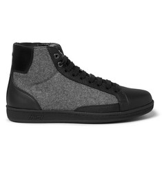 Brioni Gymnasium Leather and Felt High-Top Sneakers