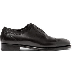 Brioni Black Leather Oxford Shoes