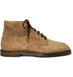 Dolce & Gabbana Brogue-Detailed Suede Boots