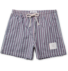 Thom Browne - Short-Length Striped Textured-Shell Swim Shorts