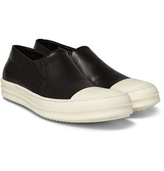 Rick Owens - Rubber-Trimmed Leather Slip-On Sneakers