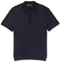 Rag & bone Dustin Two-Tone Cotton-Blend Polo Shirt