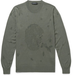 Alexander McQueen Slim-Fit Distressed Wool and Cotton-Blend Sweater