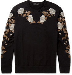 Alexander McQueen Floral-Embroidered Loopback Cotton-Jersey Sweatshirt