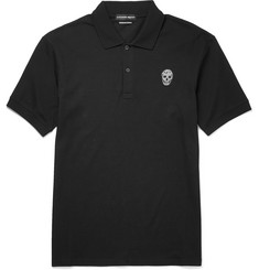 Alexander McQueen Slim-Fit Skull Patch Cotton-Piqué Polo Shirt