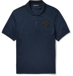 Alexander McQueen Slim-Fit Bead-Embellished Cotton-Piqué Polo Shirt