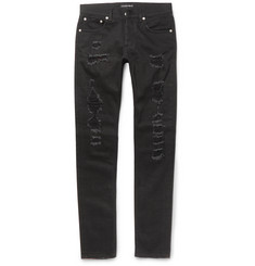 Alexander McQueen Skinny-Fit Distressed Washed Stretch-Denim Jeans
