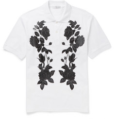 Alexander McQueen Slim-Fit Flower-Print Cotton-Piqué Polo Shirt