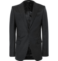 Alexander McQueen Black Slim-Fit Polka-Dot Virgin Wool Suit Jacket