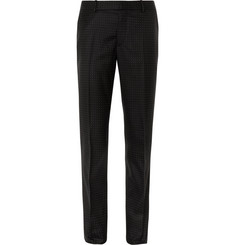 Alexander McQueen Black Slim-Fit Polka-Dot Virgin Wool Suit Trousers