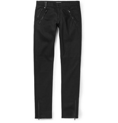 Alexander McQueen Slim-Fit Leather-Detailed Stretch-Denim Jeans