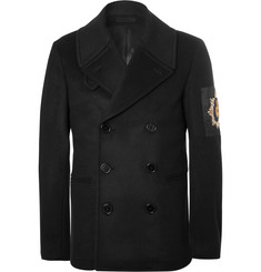 Alexander McQueen Double-Breasted Embellished Wool and Cashmere-Blend Peacoat