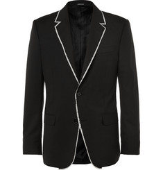 Alexander McQueen Black Slim-Fit Fray-Trimmed Wool Jacket