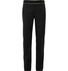 Alexander McQueen Black Slim-Fit Fray-Trimmed Wool Suit Trousers
