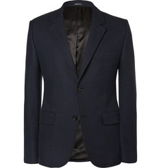 Alexander McQueen Navy Slim-Fit Checked Cotton-Blend Blazer