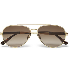 Bottega Veneta Aviator-Style Leather-Trimmed Gold-Tone Sunglasses