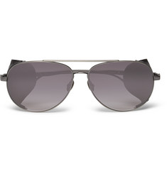 Bottega Veneta Aviator-Style Leather-Trimmed Titanium Sunglasses