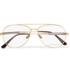Bottega Veneta Aviator-Style Metal Optical Glasses