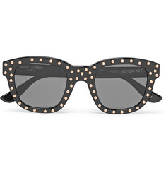 Saint Laurent Lou Square-Frame Studded Acetate Sunglasses