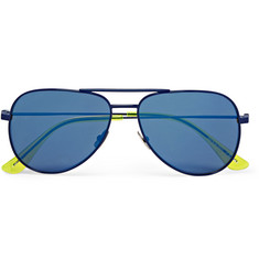 Saint Laurent Surf Aviator-Style Metal Mirrored Sunglasses