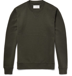 Maison Margiela - Leather Elbow-Patch Loopback Cotton-Jersey Sweatshirt