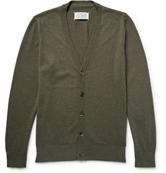 Maison Margiela Leather Elbow-Patch Cotton and Wool-Blend Cardigan