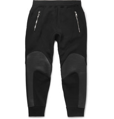 Neil Barrett Slim-Fit Tapered Faux Leather-Panelled Bonded Jersey Sweatpants