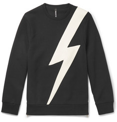 Neil Barrett Faux Leather-Panelled Jersey Sweatshirt
