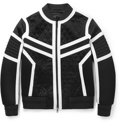Neil Barrett Quilted Satin, Neoprene and Jersey Bomber Jacket
