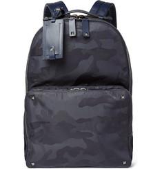 Valentino - Leather-Trimmed Camouflage-Jacquard Backpack