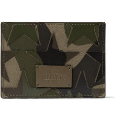 Valentino Camouflage-Print Leather and Canvas Cardholder